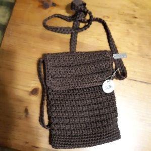 THE SAK Small crossbody brown crochet bag purse